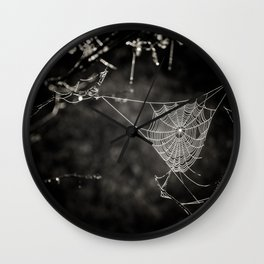 SPIDERWEB IN TREE Wall Clock