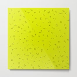 Digital Geometric Pattern Art Yellow Metal Print