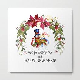 Christmas Mrs. and Mr. Snowman Carolling Poinsettia Pattern Metal Print