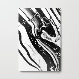 Suminagashi Abstract Black and white Marble liquid watercolor Nr.01 Metal Print