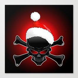 Christmas Santa Black Skull Canvas Print