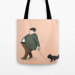 A Man with a Dog Tote Bag