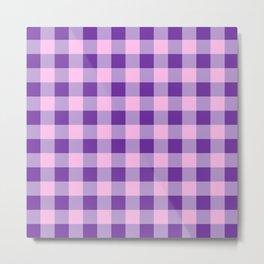 Purple and Pink Check Metal Print