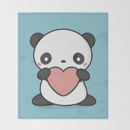 Kawaii Cute Panda With Heart Throw Blanket