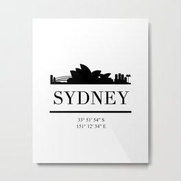 SYDNEY AUSTRALIA BLACK SILHOUETTE SKYLINE ART Metal Print