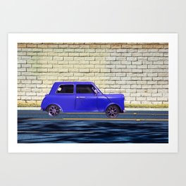 blue classic car on the road with brick wall background Art Print