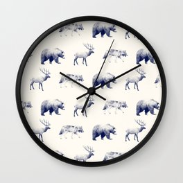 Wild Pattern // Blue Wall Clock
