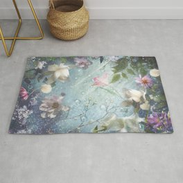 Flowers and Waters in Pale Pink and White Rug