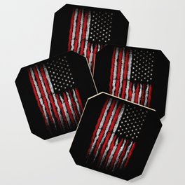 Red & white Grunge American flag Coaster