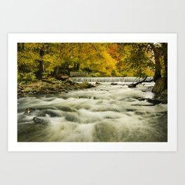 Waterfalls in the Autumn Foliage Rustic Nature / Landscape Photo Art Print