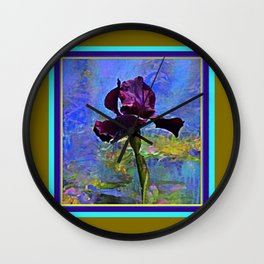 Dark Avocado Color Purple Iris Blue Painting Wall Clock