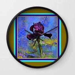 Dark Avocado Color Purple Iris Blue Painting Wall Clock