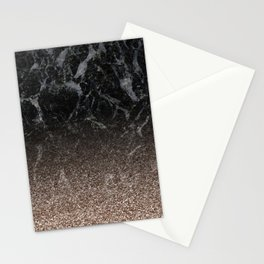 Glitter ombre - black marble & rose gold glitter Stationery Cards