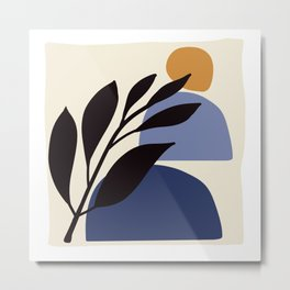 Minimal Blue Shapes Metal Print