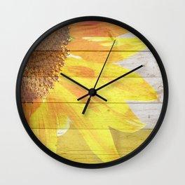 Sunflower on Wood Wall Clock