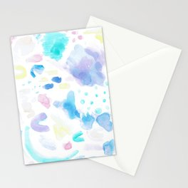 Pastel Watercolor Abstract Splatter Stationery Cards