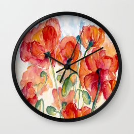 Tangerine Orange Poppy field WaterColor by CheyAnne Sexton Wall Clock