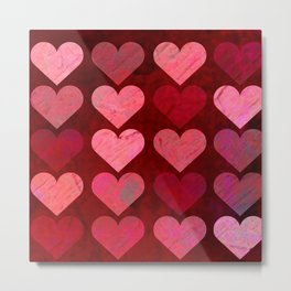 Texture Red Pink Hearts Metal Print