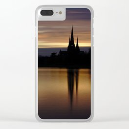 Lichfield Cathedral Sunset Reflection Clear iPhone Case