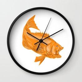 Largemouth Bass Diving Drawing Wall Clock
