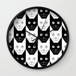 Black cat, white cat Wall Clock