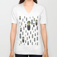magritte V-neck T-shirts featuring Kokeshi Magritte pattern by Pendientera