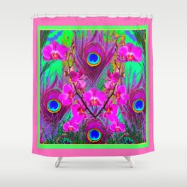 Pink Blue Green Peacock Feathers Lavender Orchid Patterns Art Shower Curtain