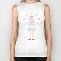 baking Biker Tanks featuring Pink Sugar Baking Girl  by Carly Watts