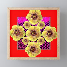 YELLOW FLOWERS DRAWING ON RED PATTERNED ART Framed Mini Art Print