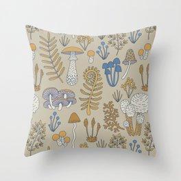 Wild Mushrooms in Blue Throw Pillow