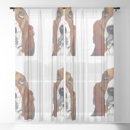 Xavier with transparent background Sheer Curtain