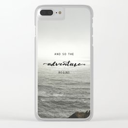 And So The Adventure Begins - Ocean Emotion Black and White Clear iPhone Case