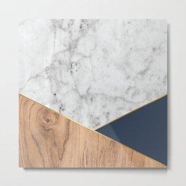White Marble Wood & Navy #599 Metal Print