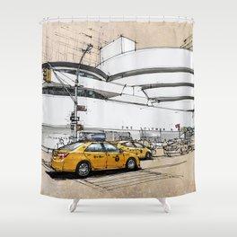 Guggenheim New York, umbrellas and yellow cabs. Sketch Shower Curtain