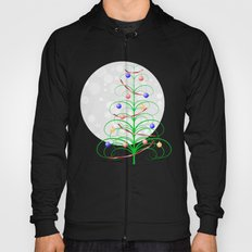 Abstract Christmas tree on a snowy background Hoody