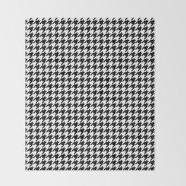 Monochrome Black & White Houndstooth Throw Blanket