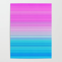 Pink & Aquamarine Blue Stripes Poster