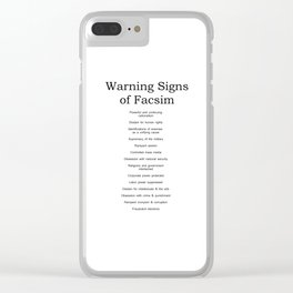 Warning Signs of Facism Clear iPhone Case