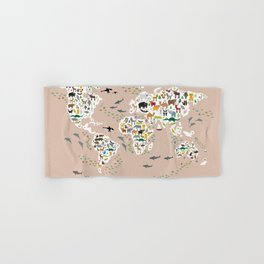 Cartoon animal world map, back to schhool. Animals from all over the world rosybrown background Hand & Bath Towel