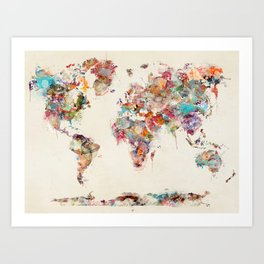 world map watercolor deux Art Print