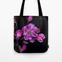 cherry blossom Tote Bags featuring Cherry Blossom by CreativeByDesign