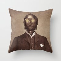 creepy Throw Pillows featuring Baron Von Three PO  by Terry Fan