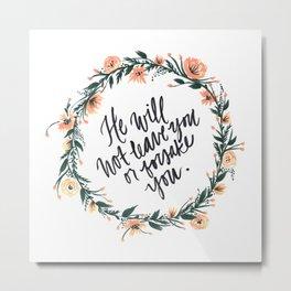 Deuteronomy 31:6 with Wreath Metal Print