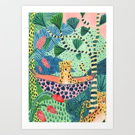Jungle Leopard Family Art Print