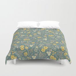 Yellow, Cream, Gray, Tan & Blue-Green Floral Pattern Duvet Cover