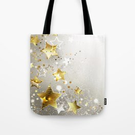 Gray Background with Gold Stars Tote Bag