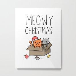 Meow Christmas Metal Print