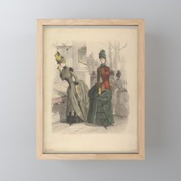 Two Women in Day Dresses Preparatory drawing for a fashion plate from Le Moniteur de la Mode Framed Mini Art Print
