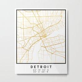 DETROIT MICHIGAN CITY STREET MAP ART Metal Print