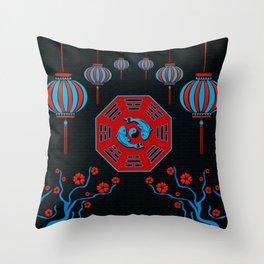 Pair of Koi Fish in Bagua with Yin Yang symbol Throw Pillow